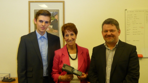 Mayor Norma Redfearn with Lewis Nagel and Terry Nall, managing director at N2 Limited.